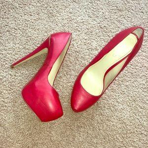 Red platform aldo heels